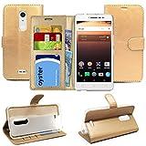 Blueenza purse case for Alcatel A3 XL l'étui - gold eco