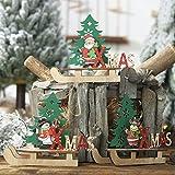 FafSgwq Slitta in Legno di Natale Babbo Natale Pupazzo di Neve Albero di Alce Pendente Xmas Home Party Decorazioni Natalizie Alce##