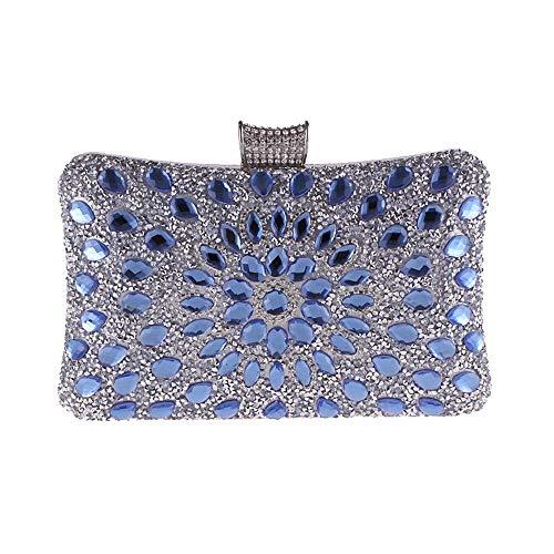 FDGH Bolsos - Europa Y América del Taladro De Cristal del Diamante Salvaje del Bolso De Tarde, Bolso del Partido, Bolso De Bandolera, 20 * 6 * 12 Cm Exquisita Bolsa de Banquete (Color : Blue)