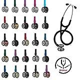 3M Littmann Cardiology IV Stethoskop MIT GRAVUR (verschiedene Farben) (Rainbow-Schwarz)