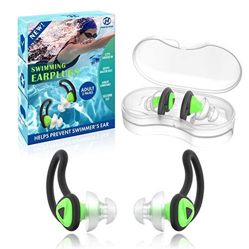Hearprotek 2 Paare Schwimmer Ohrstöpsel, Verbessertes Silikon Passgenauer Wasserschutz Schwimmohrstöpsel für Schwimmer Becken Duschbad und andere Wassersportarten(Grün)