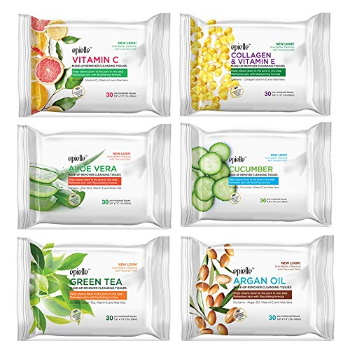 Epielle New Makeup Remover Cleansing Wipes Tissue | Gentle for all Skin Types | Daily Facial Cleansing Towelettes | Removes Dirt, Oil, Makeup | Nicely Scented - Vit C, Collagen, Aloe, Cucumber, Green Tea, Argan Oil | 30 Count | Assorted 6 Pack