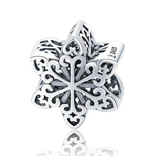 Schneeflocke Charm Bead Anhänger, 925 Sterling Silber, kompatibel mit Pandora und europäischen Armbändern