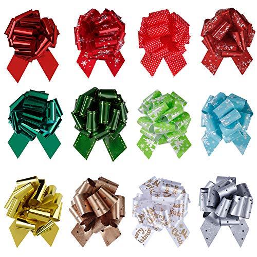 MengH-SHOP Arcos de Navidad Lazos Moños de Cinta Regalo para Decoración de Navideños Boda Envoltura Regalos Cestas Botellas 12 Piezas