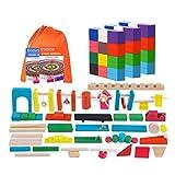 CFO Domino 360 pièces en Bois Color Set Domino avec 32 Blocs Accessoires et Jeux 2 Aide Manuels, Kits de Construction Rallye Adultes et Enfants Toy Racing Jeu Cadeau Parfait pour garçons et Filles