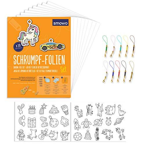 Smowo Schrumpffolien Set mit Schlüsselanhänger - 10 Stück schrumpfende Plastikfolie - Mit Motiven - A4 matt transparent