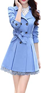 Womens Lace Hem Cardigan Trench Coat Double-Breasted Decor Coats Bowknot Sashes Outerwear Jacket