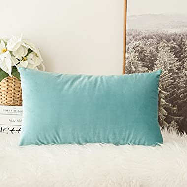 MIULEE Velvet Soft Soild Decorative Square Throw Pillow Covers Cushion Case for Sofa Bedroom Car 12 x 20 Inch 30 x 50 cm