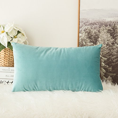MIULEE Velvet Soft Soild Decorative Square Throw Pillow Covers Cushion Case for Sofa Bedroom Car 12 x 20 Inch 30 x 50 cm Aqua Green