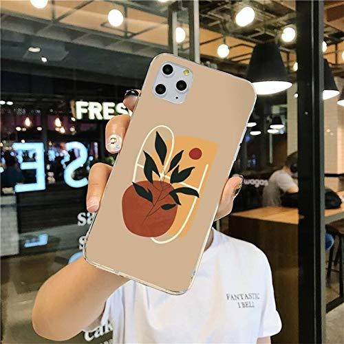 TDG Fundas Funda De Teléfono De Arte Minimalista De Moda Abstracta Vintage Girl para iPhone 12 Pro MAX 11 Pro XS MAX 8 7 6 6S Plus X 5S Se 2020 XR Funda para Iphone5C A7