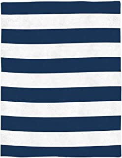 Super Soft Fleece Throw Blanket, Navy Blue and White Stripe 40