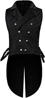 Mens Vest F_Gotal Men Double Breasted Lapel Collar Waistcoat Jacquard Vest Gothic Steampunk Casual Vest Gothic Steampunk