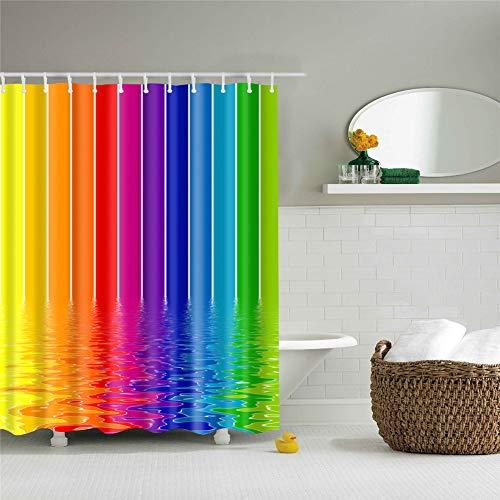 Duschvorhang, Morbuy 3D Digitaldruck Top Qualität Schimmelresistenter & Wasserabweisend Shower Curtain Waschbar Mit 12 Duschvorhangringen 100prozent Polyester (150x180cm,Regenbogen)