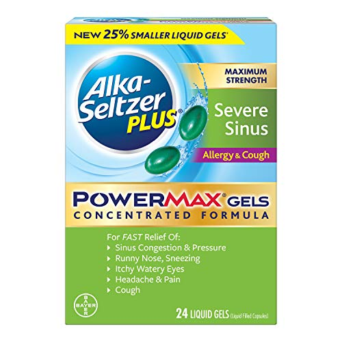 Alka-Seltzer Plus Maximum Strength PowerMax Allergy and Cough Medicine, Liquid Gels for Adults with Pain Reliever, Fever Reducer, Cough Suppressant, Antihistamine, Nasal Decongestant, 24 Count