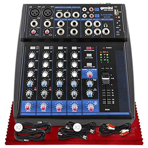 Gemini Compact Professional 8 Channel Bluetooth Enabled Analog Audio Mixer GEM-08USB + Xpix Pro-Audio XLR Cable (x2), Xpix 1/4