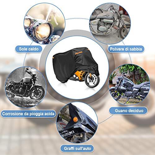 Rovtop Telo Coprimoto, Accessori Moto, Telo Moto, Telo Impermeabile, Resistente a Acqua, Polvere, Pioggia