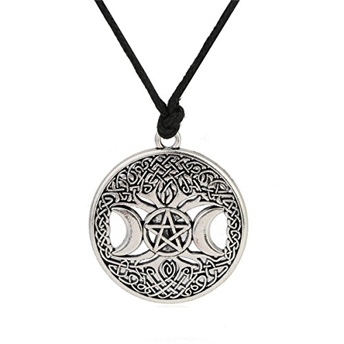 Ztuo Antique Silver Tree of Life Triple Moon Goddess Necklace Celtic Knot Pentagram Pentacle Star Pendant