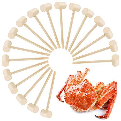 18 Pcs Wooden Crab Mallet Lobster Hammer Shellfish Crab Mallets Multifunctional Natural Hard Wooden Mallet for Cracking Seafood Tools