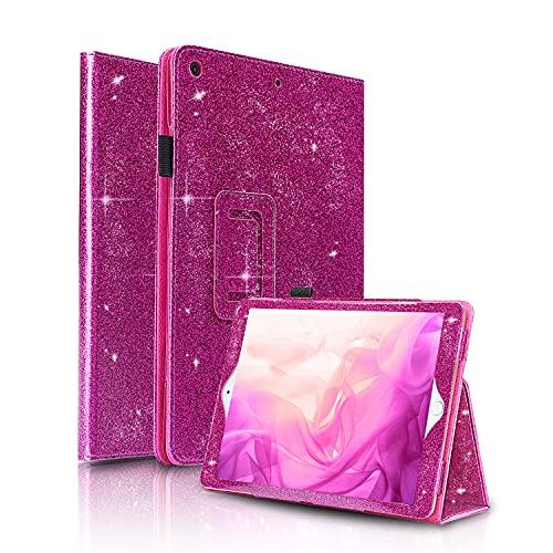 FANSONG Funda para iPad Mini/Mini 2/3, Carcasa Cuero PU Purpurina Magnetica con Función de Soporte y Auto-Sueño/Estela para Apple iPad Mini/Mini 2/3(Rosa Morado)