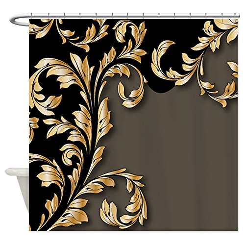 Gold And Black Leafy Flourish Fabric Shower Curtain
