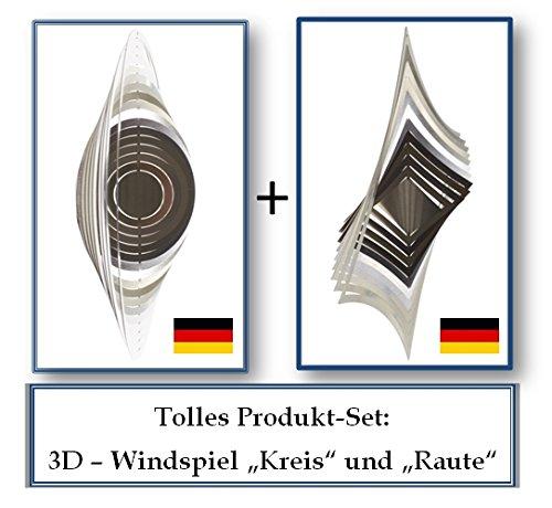 "A2010 - steel4you 3D-Windspiel-Set aus Edelstahl: ""Raute"" + ""Kreis"" zum Set-Preis - made in Germany"
