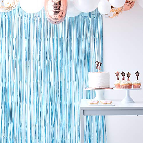 Ginger Ray Matte Blue Foil Curtain Backdrop Party Boys Photo Decoration Twinkle Twinkle