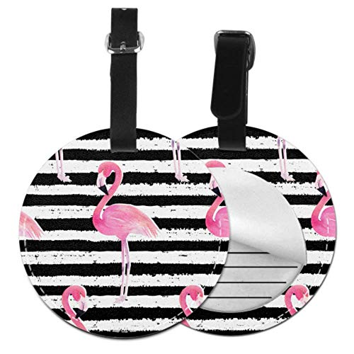 Name Tag for Traveling Bag Cool Striped Summer Flamingo Luggage Tags Cute Woman Luggage Tag with Adjustable Black Strap for Bags & Baggage with Privacy Protection for Women Men