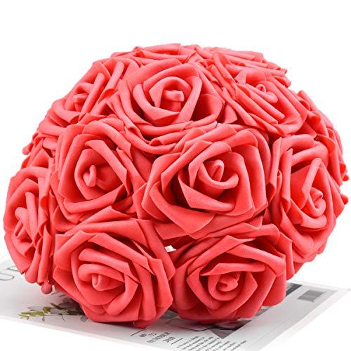 Disino 30pcs Rosas Artificiales de Espuma, Falsas Flor de Rosa Cabeza 7cm con Vástago Ajustable para DIY Manualidades, Ramos de Boda, Centros de Mesa, Hogar Fiesta Decoración (Grande Rojo)
