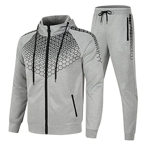 AGLOAT Herren und Damen Trainingsanzug Jogginganzug Sportanzug Jogginghose Zweiteilige Trainingsjacke Pants Stripe mit Kapuze Mantel Sportbekleidung Sporthose (Grau2, L)