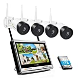 5MP Wireless CCTV Camera System Jennov Wireless Security Camera System with 12' LCD Monitor Outdoor 4pcs 5MP Home WiFi CCTV Camera Video Surveillance Kit with 1TB HDD IP66 Waterproof Night Vision
