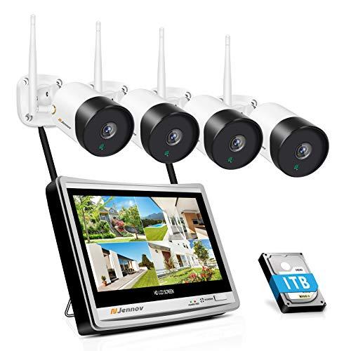 Jennov 5MP HD Überwachungskamera Set Aussen, 4CH 2560P NVR WLAN Überwachungssystem Set mit 4X IP Kamera und 12 Zoll Monitor 30m IR Nachtsicht IP66 wasserdicht APP Überwachungsanlage 1TB Festplatte