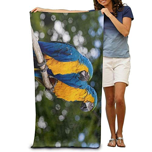 Gebrb Duschtücher/Badetücher,Strandtücher, Promotional Rainbow Parrot Yellow Large Beach Towel Pool Towel,Swim Towels for Bathroom,Gym,and Pool 31 in X51 in