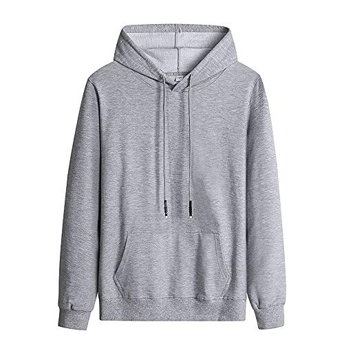 Primavera Otoño Color Sólido Casual Hombres Sudaderas Sudaderas Harajuku Streetwear Sudaderas, gris, XL