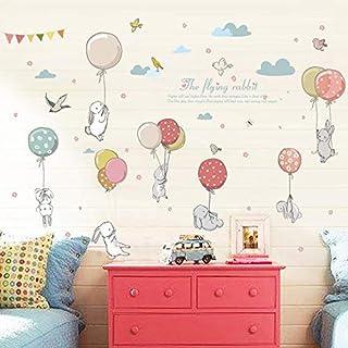 Rabbit Balloon Wall Sticker Kids Room Decoration Kindergarten Classroom Art Background Autocollant Mural Home Decor Wall S...