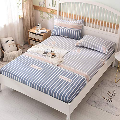 HPPSLT Protector de colchón/Cubre colchón Acolchado, Ajustable y antiácaros. Algodón Antideslizante de una Sola Pieza para sábana-27_1.5 * 2m
