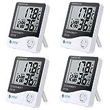 eSYNIC 4 Piezas Termómetro Higrómetro Digital Medidor de Humedad y Temperatura Termohigrometro para Interior y Exterior Habitación Casa Oficina Ambiente
