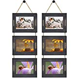 DLQuarts Collage Hanging Picture Frame 5x7, 3-Frame Set, 3.5x5 with Mat or 5x7 Without Mat, Rustic Solid Wood Photo Frame Pack of 2 Weathered Black