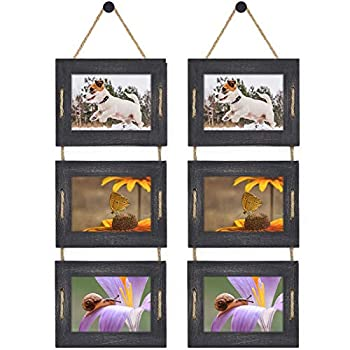 DLQuarts Collage Hanging Picture Frame 5x7 3-Frame Set 3.5x5 with Mat or 5x7 Without Mat Rustic Solid Wood Photo Frame Pack of 2 Weathered Black