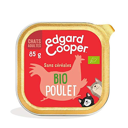 Edgard & Cooper Boite Patée BIO Chat Adulte Sans Cereales Nourriture Naturelle 85g Poulet Biologique Frais, Alimentation saine savoureuse et équilibrée, Protéines de qualité supérieure