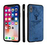 Fastbounce Deer Series Cloth Back Cover for i-Phone X/10 - Blue