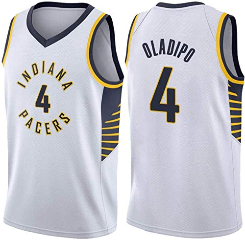 Baloncesto Men's Jersey, Indiana Pacers # 4 Victor Oladipo Uniformes Transpirable Retro Bordado Malla Swings sin Mangas Deportes Tops Unisex Baloncesto Fan Camiseta (Color : White, Size : XX-Large)