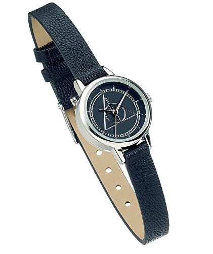Harry Potter Armbanduhr Deathly Hallows silberfarben/schwarz, aus Kunststoff, in Geschenkverpackung.