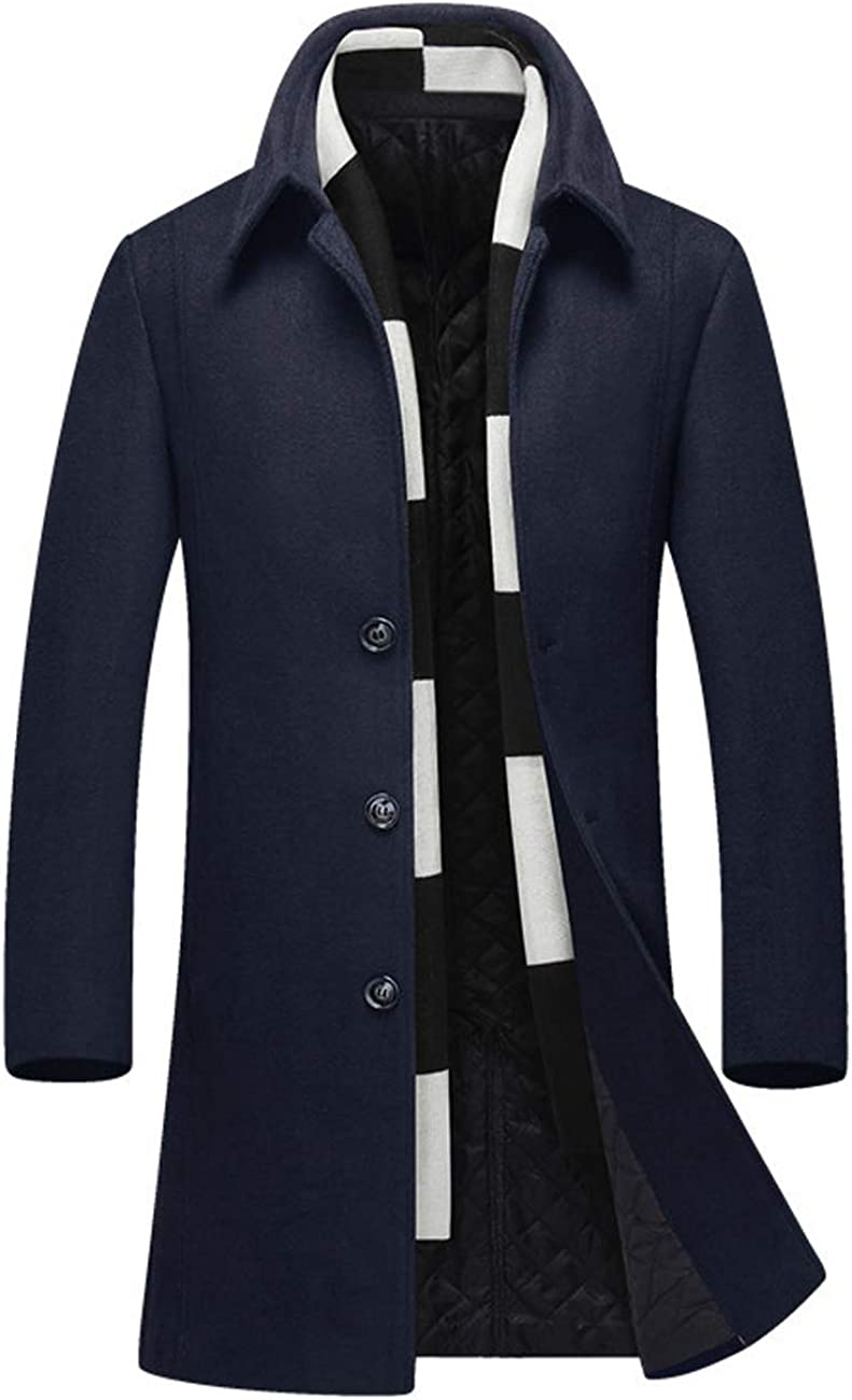Zoulee Men's Wool Blend Mid-Long Business Trench Topcoat