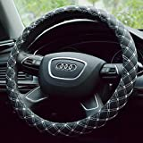 Onlineb2c Diamond Quilted Stitching Pattern Leather Steering Wheel Cover Case (Black with White)