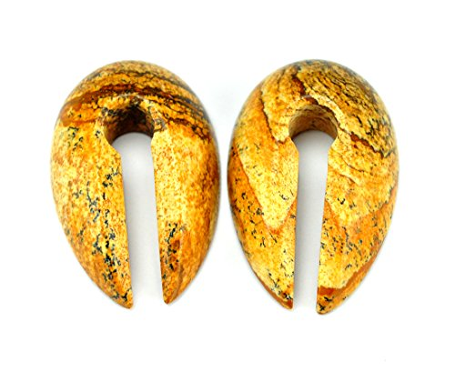 Pair of Small Keyhole Stone Ear Weights (1/2' and up) - Sold as a Pair - Choose the Stone (Picture Jasper)