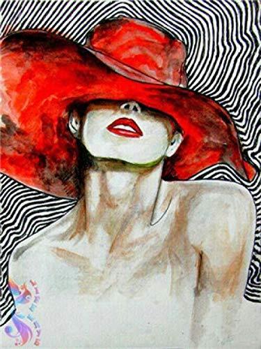 Malen nach Zahlen Enthält Acrylfarben und 3 Pinsel Frau mit rotem Hut DIY Ölgemälde für Kinder Erwachsene Anfänger Home Haus Dekor 16 x 20 Zoll / 40 * 50 cm Ohne Rahmen