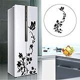 DAWEIF Refrigerator Sticker,PVC Butterfly Flower Rattan Decal Creative Home Kitchen Decor Black Removable Wall Stickers