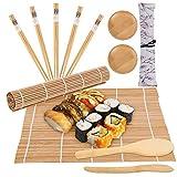 Veraing - Set de sushi (12 unidades, bambú, para principiantes y amantes del sushi (2 esterillas de sushi, 1 salero de arroz, 1 remo de remo y 2 platos de sushi, 5 palillos, 1 bolsa para palillos)