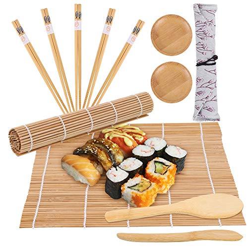 Veraing Sushi Set, 12 Stück Bambus Sushi Maker Set für Anfänger and Sushi-Liebhaber (2 Sushi Matte, 1 Reisstreuer, 1 Paddy Paddel, 2 Sushi-Teller,5 Stäbchen, 1 Essstäbchen Tasche)