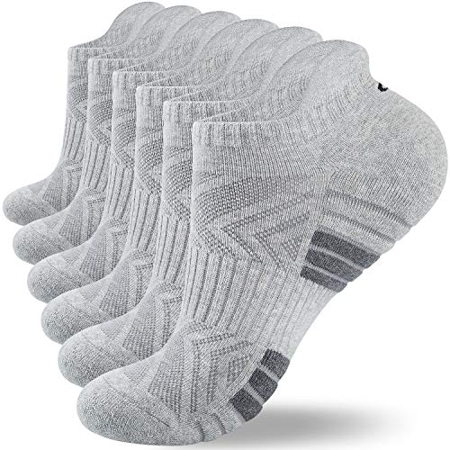 Lapulas Running Socks, 6 Pairs Cushioned Trainer Socks Sports Socks Cotton Ankle Socks for Men Women Ladies Low Cut Anti-Blister Walking Socks for Outdoor Sports (6-8, Gray*6(M05))